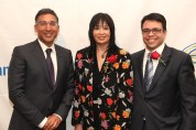 2015 Justice in Action honoree Neal Katyal, AALDEF executive director Margaret Fung and presenter Debo Adegbile at the Asian American Legal Defense and Education Fund's lunar new year gala at Pier Sixty at Chelsea Piers in New York on February 23, 2015. Photo by Lia Chang