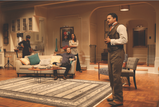 Brandon J. Dirden (Zeke), far right, with from left: Roslyn Ruff (Janeece), Andrew Hovelson (Randall) and Merritt Janson (Judith) in the world premiere of Your Blues Ain't Sweet Like Mine at Two River Theater in 2015. Costumes by Karen Perry. Photo by Michal Daniel