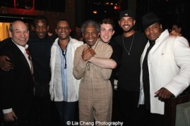 Jack Bashkow, Britton Smith, Kevin Mambo, André De Shields, Conor Ryan, Nicholas Christopher, and Juson Williams. Photo by Lia Chang