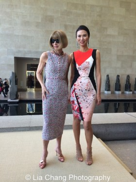 Vogue editor-in-chief Anna Wintour and Wendi Murdoch attend the 'China: Through the Looking Glass' press preview at the Temple of Dendur at Metropolitan Museum of Art on May 4, 2015 in New York City. Photo by Lia Chang
