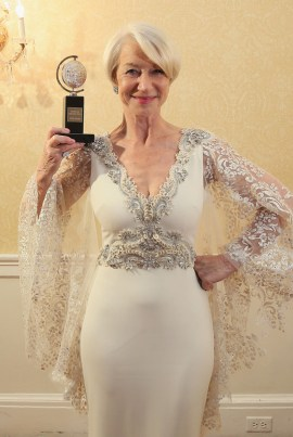 "NEW YORK, NY - JUNE 07: Helen Mirren, winner of the award for Best Lead Actress in a Play for ""The Audience,"" poses in the press room during the 2015 Tony Awards at Radio City Music Hall on June 7, 2015 in New York City. (Photo by Jemal Countess/Getty Images for Tony Awards Productions)"