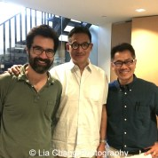 Filmmaker/comic book writer Greg Pak (left), John Woo, Asian American International Film Festival executive director, and Arthur Dong at MoCA in New York on July 26, 2015. Photo by Lia Chang