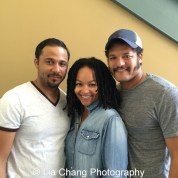 Jason Dirden, Crystal Dickinson-Dirden and her husband Brandon J. Dirden at Two River Theater in Red Bank, NJ on September 3, 2015. Photo by Lia Chang