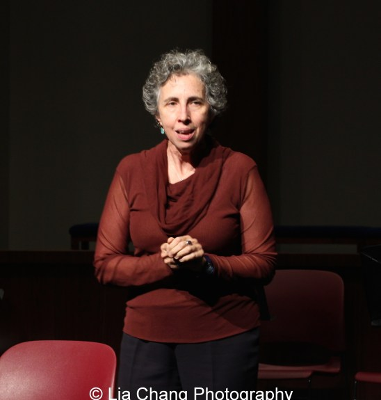 DG Fellow and Program Director Andrea Lepcio speaks at the 2014-2015 DG Fellows Presentation at Playwrights Horizons in New York on October 19, 2015. Photo by Lia Chang