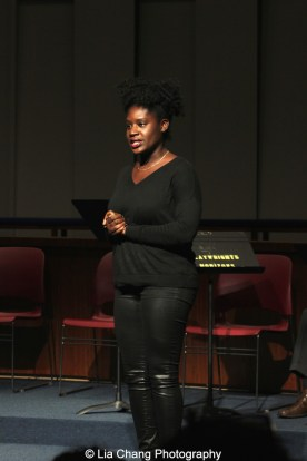 2014-2015 DG Fellow Camille Darby introduces her play at the 2014-2015 DG Fellows Presentation at Playwrights Horizons in New York on October 19, 2015. Photo by Lia Chang