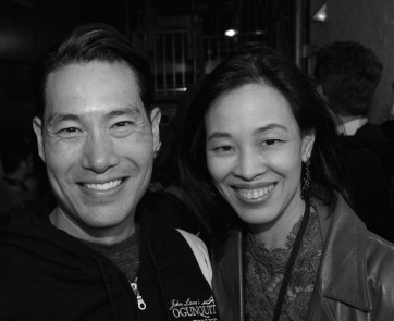 Darren Lee and Lia Chang backstage at the Longacre Theatre in New York after the first preview of ALLEGIANCE on October 6, 2015. Photo by Jaygee Macapugay