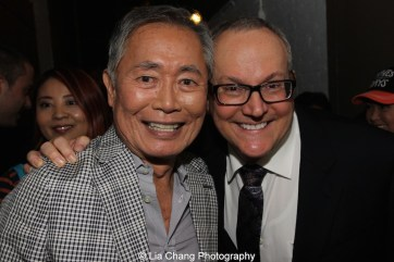 George Takei and husband Brad Takei backstage at the Longacre Theatre in New York after the first preview of ALLEGIANCE on October 6, 2015. Photo by Lia Chang