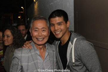 George Takei and Telly Leung backstage at the Longacre Theatre in New York after the first preview of ALLEGIANCE on October 6, 2015. Photo by Lia Chang