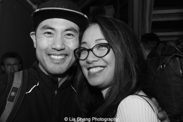 Marcus Choi and Jaygee Macapugay backstage at the Longacre Theatre in New York after the first preview of ALLEGIANCE on October 6, 2015. Photo by Lia Chang
