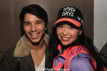 Sam Tanabe and Janelle Dote backstage at the Longacre Theatre in New York after the first preview of ALLEGIANCE on October 6, 2015. Photo by Lia Chang