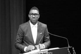 Baltimore Center Stage artistic director Kwame Kwei-Armah speaks at the 2015 Steinberg Playwright Awards on November 16, 2015 in New York City. Photo by Lia Chang