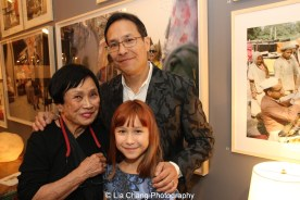 Pat Suzuki with her son David Shaw and her granddaughter Luna Cuming Shaw at the opening reception of Tiger Morse by Mark Shaw: Jet Set Style Quest, 1962 at The Liz O'Brien Gallery in New York on November 3, 2015. Photo by Lia Chang