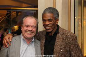 Chicago Tribune critic Chris Jones and André De Shields at 'On Your Feet!' at the Marquis Theatre in New York on November 4, 2015. Photo by Lia Chang