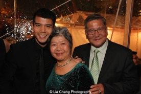 Telly Leung and his parents at the opening night party for ALLEGIANCE at Bryant Park Grill on November 8, 2015. Photo by Lia Chang