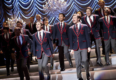 "The Warblers performed Train's ""Hey Soul Sister"" at the Sectionals competition in the ""Special Education"" episode. Photo: Fox"