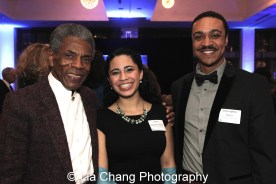 André De Shields with Theatre School Student Paola Sanchez Abreu and Christopher Jones at the 27th Annual Awards for Excellence in the Arts Gala held in the Atlantic Ballroom of the Radisson Blue Aqua Hotel in Chicago on November 9, 2015. Photo by Lia Chang