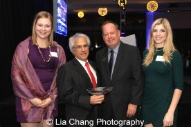 Theatre School student Sarah McElroy, honoree Lou Raizin, Theatre School Board Chair Brian Montgomery, and Theatre School student Hayley Barron at the 27th Annual Awards for Excellence in the Arts Gala held in the Atlantic Ballroom of the Radisson Blue Aqua Hotel in Chicago on November 9, 2015. Photo by Lia Chang