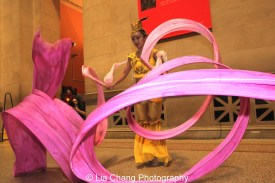 New York Chinese Cultural Center Ribbon dancer at the Metropolitan Museum of Art's annual Lunar New Year festival on February 6, 2016 in New York. Photo by Lia Chang