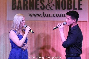 """Katie Rose Clarke and Telly Leung sing """"With You"""" to celebrate the release of the ALLEGIANCE Original Cast recording at the Barnes and Noble CD Signing event in New York on Feb. 5, 2016. Photo by Lia Chang"""