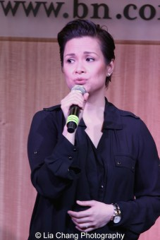 """Lea Salonga sings """"Higher"""" to celebrate the release of the ALLEGIANCE Original Cast recording at the Barnes and Noble CD Signing event in New York on Feb. 5, 2016. Photo by Lia Chang"""