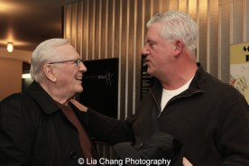 """Len Cariou is congratulated by his """"Blue Bloods"""" co-star Gregory Jbara after his performance of BROADWAY AND THE BARD. Photo by Lia Chang"""