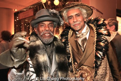 STC's THE TAMING OF THE SHREW postshow: André De Shields as Vincentio and Bernard White as Baptista. Photo by Lia Chang