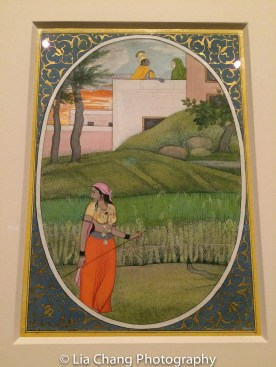 """""""The Village Beauty,"""" Folio from the dispersed """"Kangra 'Bihari"""" Sat Sai (Seven Hundred Verses) ca. 1785; Opaque watercolor, ink and gold on paper. Photo by Lia Chang"""