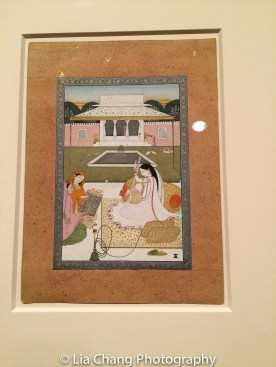 """""""Female Musicians on the Terrace of a Palace Courtyard,"""" Punjab Hills, kingdom of Kangra, Guler or Basohli, ca. 1780; Opaque watercolor, gold and silver (now tarnished) on paper. Photo by Lia Chang"""