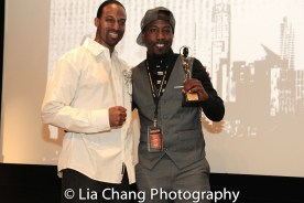 """Demetrius Angelo and Marco Da Answer Johnson, who accepted the Masters and Mentors Award for his father, Willie """"Bam"""" Johnson at the UAS IAFF Awards at HBO in New York on November 11, 2016. Photo by Lia Chang"""