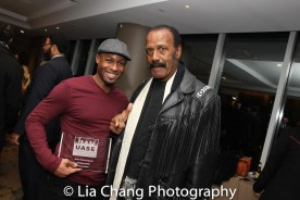 """Phoenix Award Honoree Emmanuel Brown with Fred """"The Hammer Williamson at the Cinemax® VIP Welcome Red Carpet Reception and UAS IAFF Awards at HBO in New York on November 11, 2016. Photo by Lia Chang"""