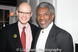 Yale Rep Artistic Director James Bundy and André De Shields at the opening night celebration at Atelier Florian. Photo by Lia Chang