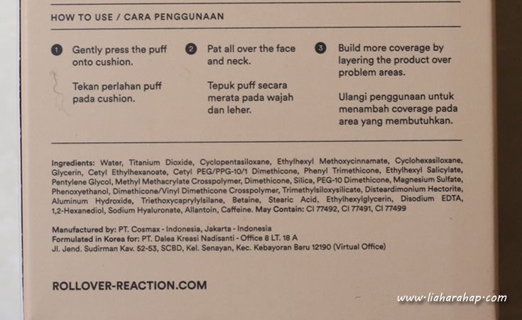 rollover reaction cushion ingredients