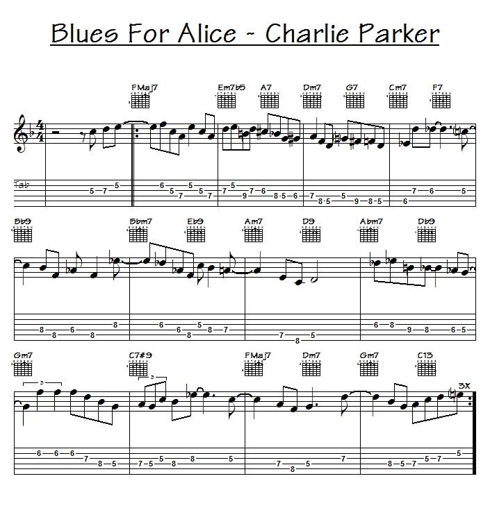 Blues for Alice Charlie Parker melody tabs tablature chords
