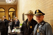Lt. Monk (left) and Lt. Hogan (right) provide security for the Boston Wreath Ceremony on April 13th.