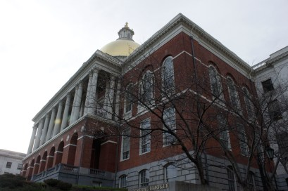 The Massachusetts State House against the evening sky on April 13th.