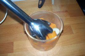 trituramos zanahoria y los ajos