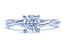 Solitaire Braided Band Engagement Ring