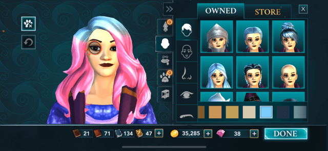 how I might want my hair courtesy of Hogwarts Mystery