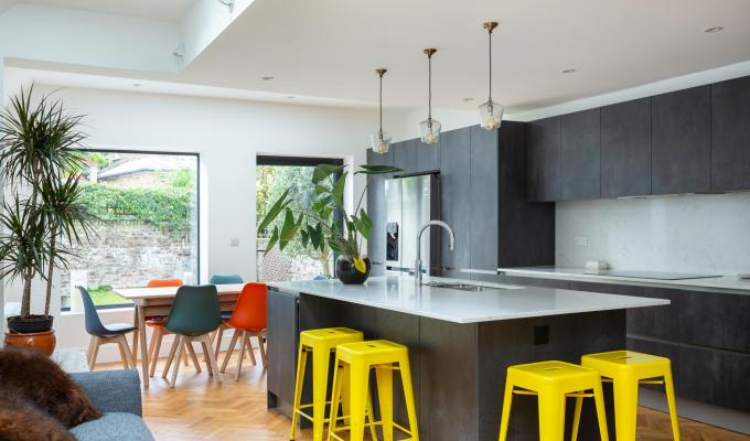 A beautiful kitchen with a pop of colour