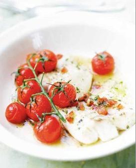 鱈魚排烤櫻桃番茄