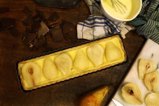 法國家常甜點-奶油巧克力梨子派TARTE DU POIRE ET CHOCOLAT