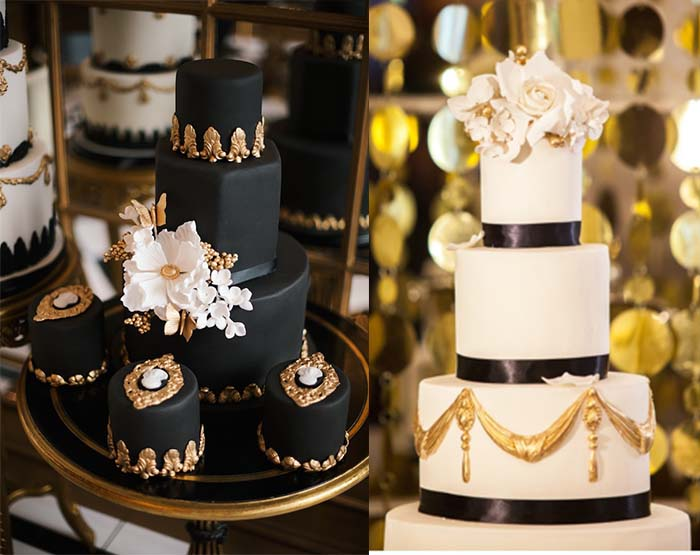 Wedding     lianggeyuan123     black and gold wedding cakes
