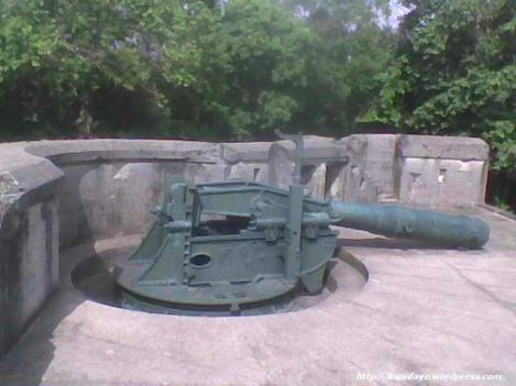 a 10-inch disappearing gun at Battery Grubbs