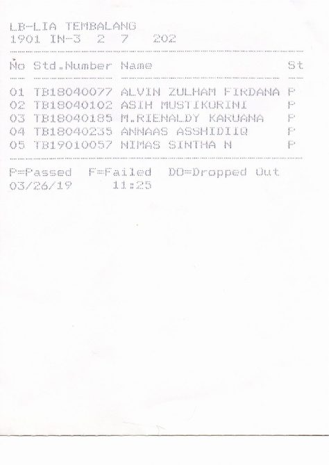 Hasil Promotion Test LIA Tembalang Term 1901