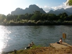Swimming in the river in Vang Vieng, Laos