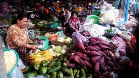 banana flower at the kampot market