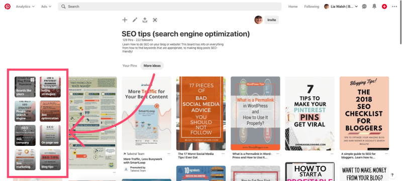 More ideas function on Pinterest can be helpful to find relevant keywords