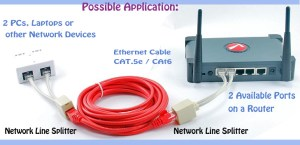 6 inches CAT5 10100 RJ45 1Female2Male Network Line Splitter Cable
