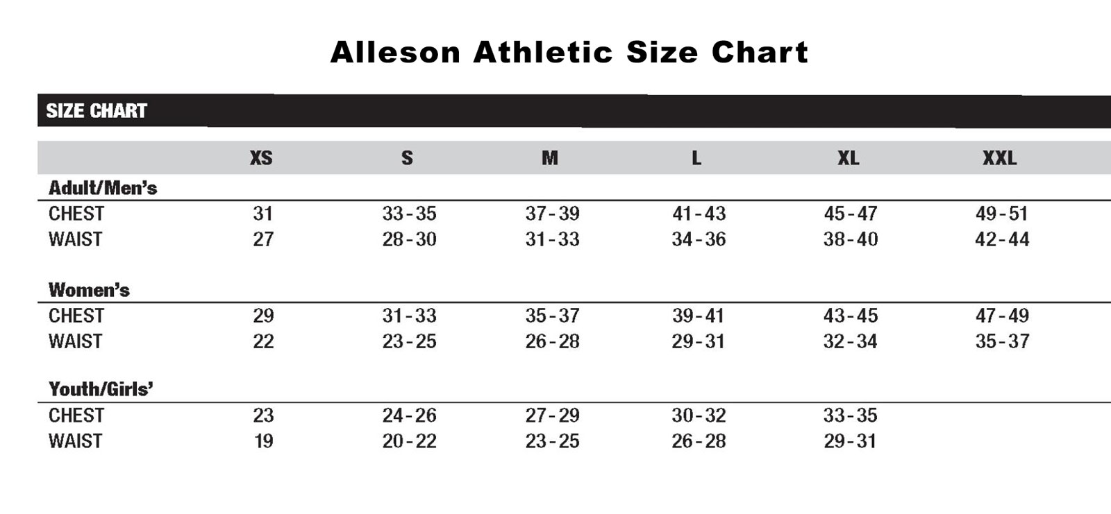 Alleson Size Charts 2011jpg
