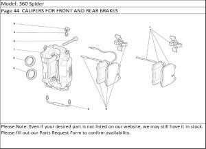 Buy Ferrari Part # 70000935 FRONT BRAKE PAD, PADS SET WITH SENSOR, F360, F 360 (BREMBO